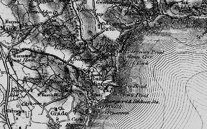 Old map of Ruan Minor in 1895