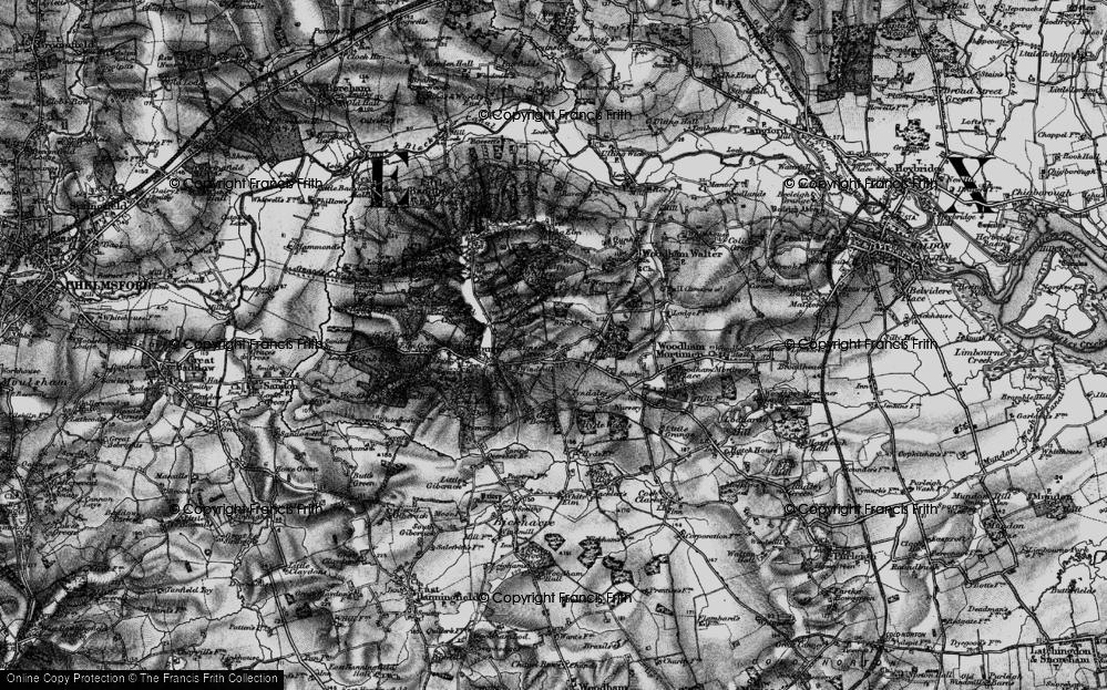 Old Map of Historic Map covering Woodham Walter Common in 1896