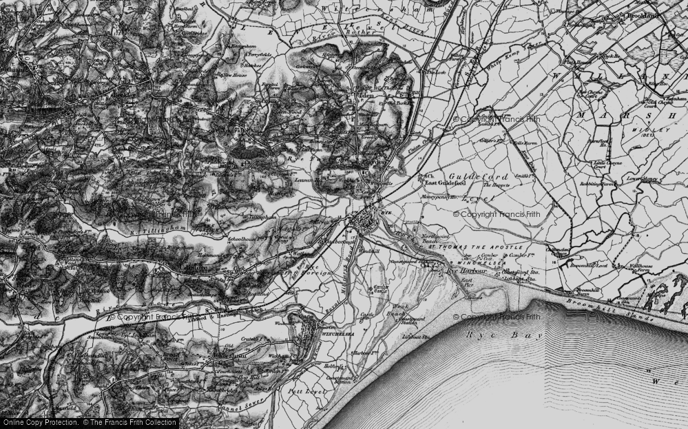 Old Map of Rye, 1895 in 1895