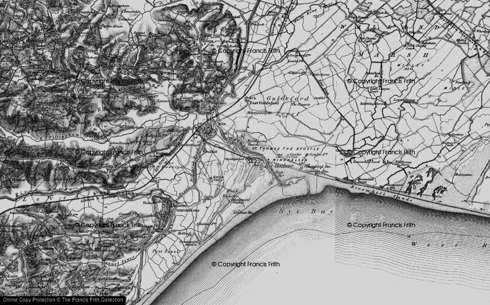 Old Map of Rye Harbour, 1895 in 1895