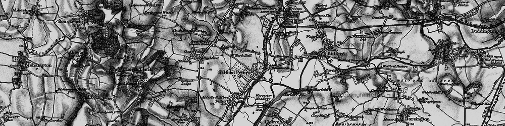 Old map of Salford Priors in 1898