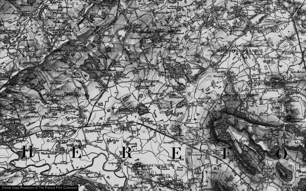 Old Map of Historic Map covering Woodmanton in 1898