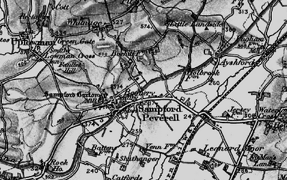 Old map of Sampford Peverell in 1898