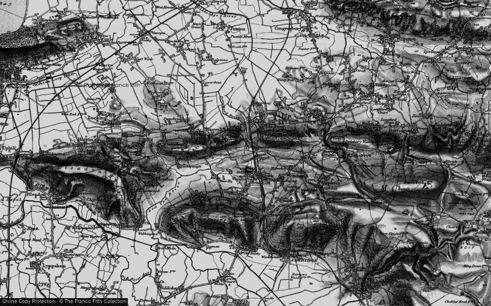 Old Map of Historic Map covering Banwell Castle in 1898