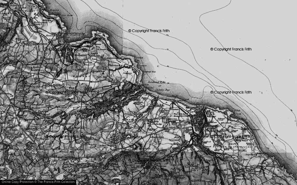 Old Map of Sandsend, 1898 in 1898