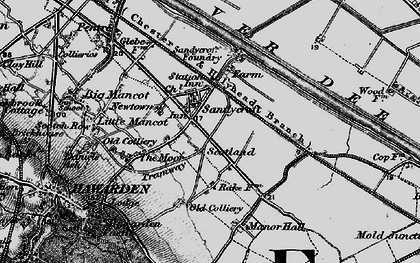 Old map of Sandycroft in 1896