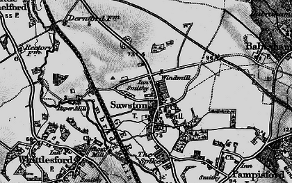 Old map of Sawston in 1896