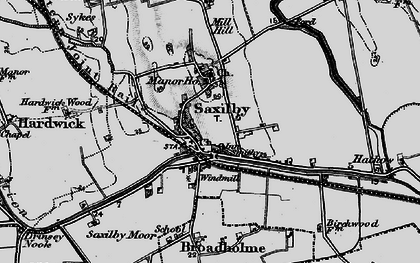 Old map of Saxilby in 1899
