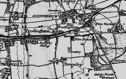 Old map of Scunthorpe in 1895