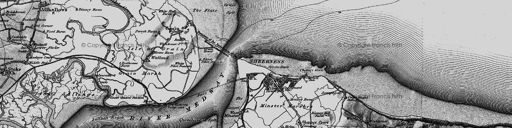 Old map of Sheerness in 1895