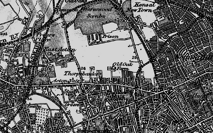 Old map of Wormwood Scrubs in 1896