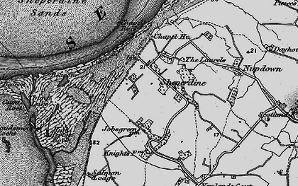 Old map of Ledges, The in 1897