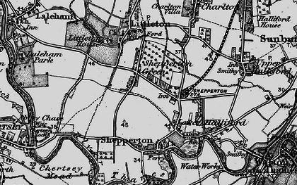 Old map of Shepperton in 1896