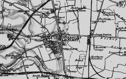 Old map of Sherburn in Elmet in 1895