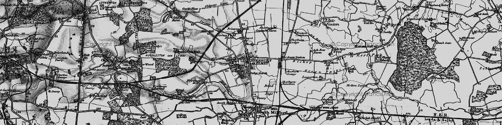Old map of Sherburn in Elmet in 1895