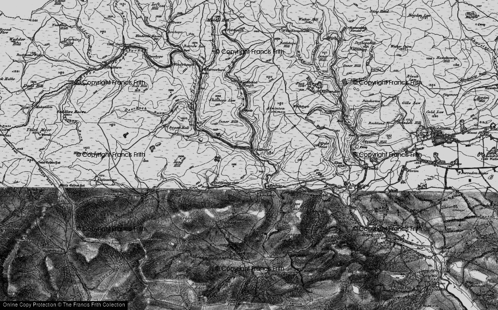 Old Map of Historic Map covering Wholehope Knowe in 1897