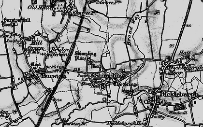 Old map of Shimpling in 1898