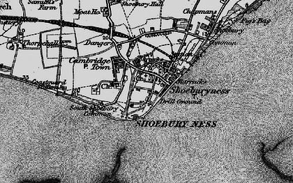 Old map of Shoeburyness in 1895