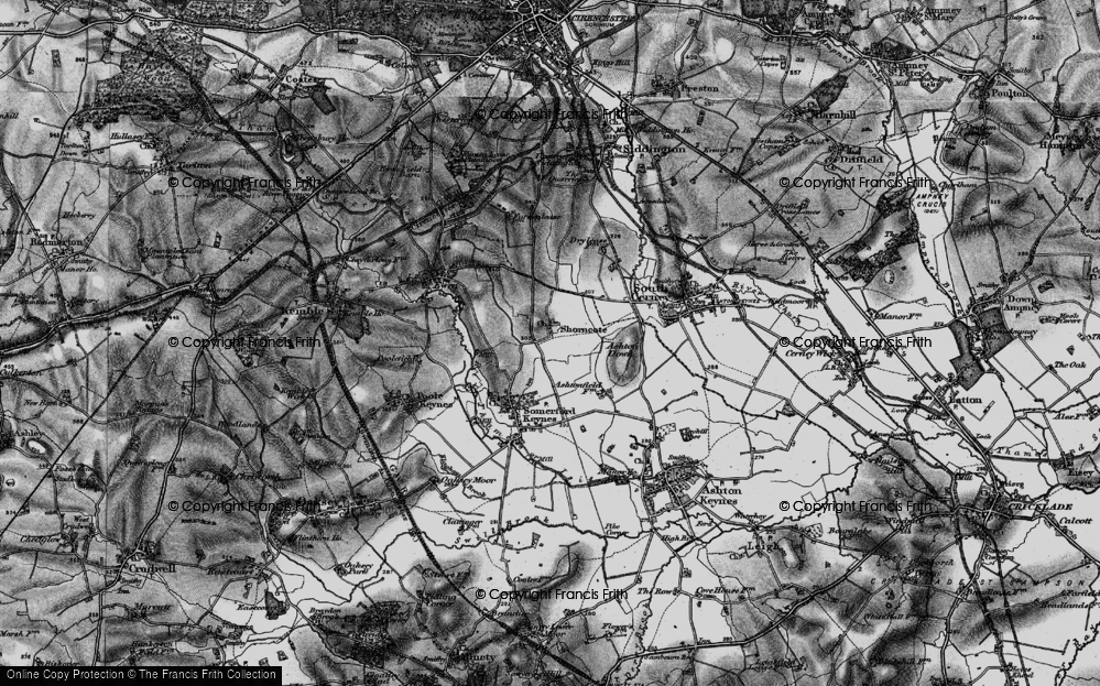 Old Map of Historic Map covering Ashton Down in 1896