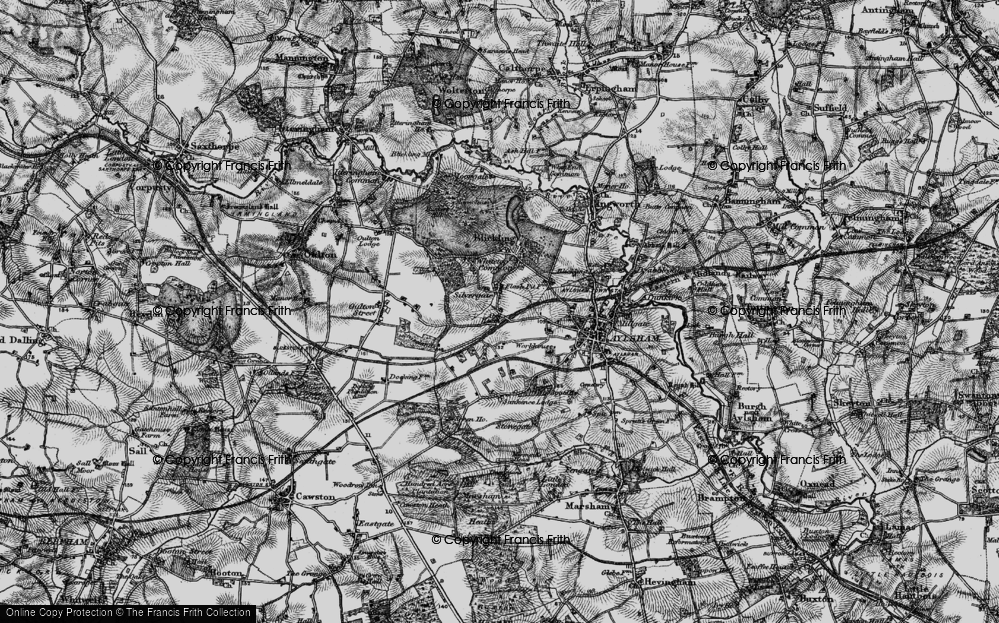 Old Map of Historic Map covering Woodgate Ho in 1898