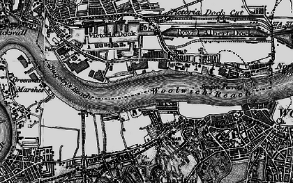 Old map of Woolwich Reach in 1896