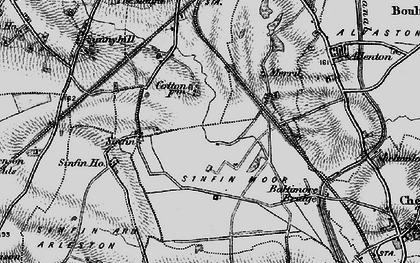 Old map of Sinfin Moor in 1895