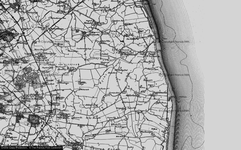 Old Map of Historic Map covering Wyche in 1898
