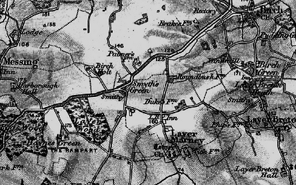 Old map of Layer Wood in 1896