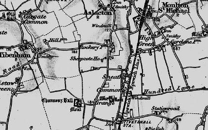 Old map of Tibenham Airfield in 1898