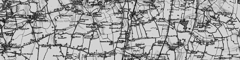 Old map of Tibenham Airfield in 1898
