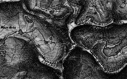 Old map of Y Lliwedd in 1899