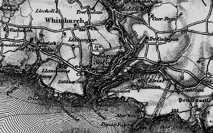 Old map of Aber-west in 1898