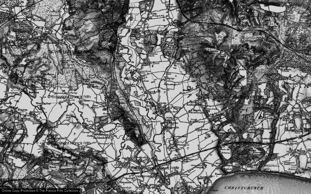 Old Map of Sopley, 1895 in 1895