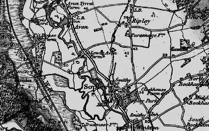 Old map of Sopley in 1895