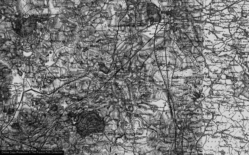 Old Map of Historic Map covering Woodcott Ho in 1897
