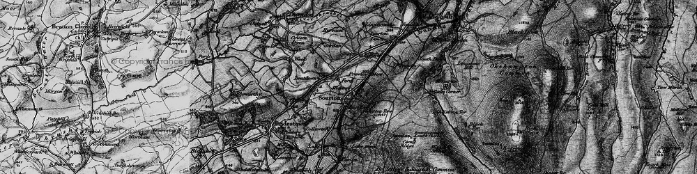 Old map of Sourton in 1898