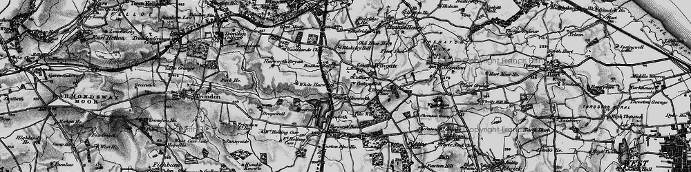 Old map of White Hurworth in 1898
