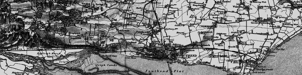 Old map of Southend-on-Sea in 1896