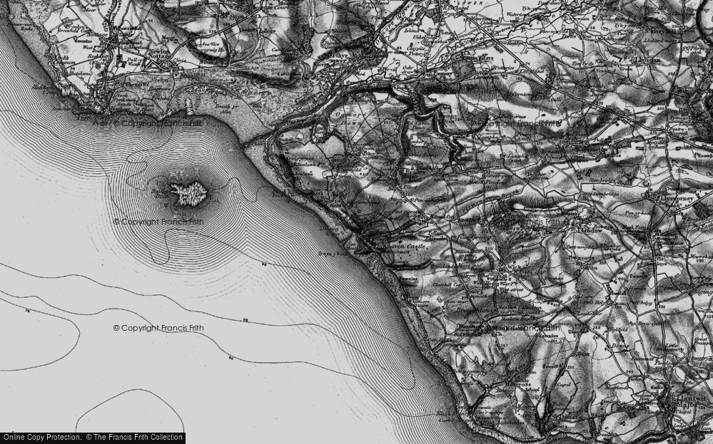 Old Map of Historic Map covering Dunraven Bay in 1897