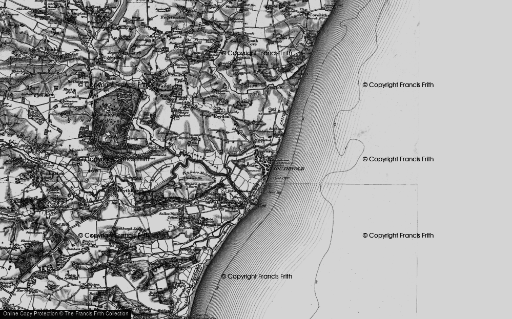 Old Map of Southwold, 1898 in 1898