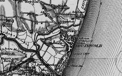 Old map of Southwold in 1898
