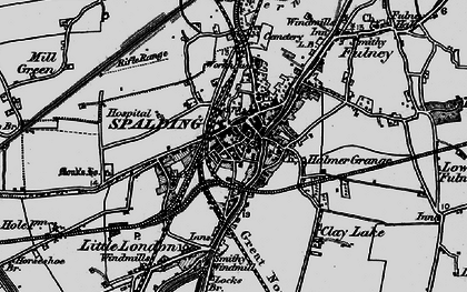 Old map of Spalding in 1898