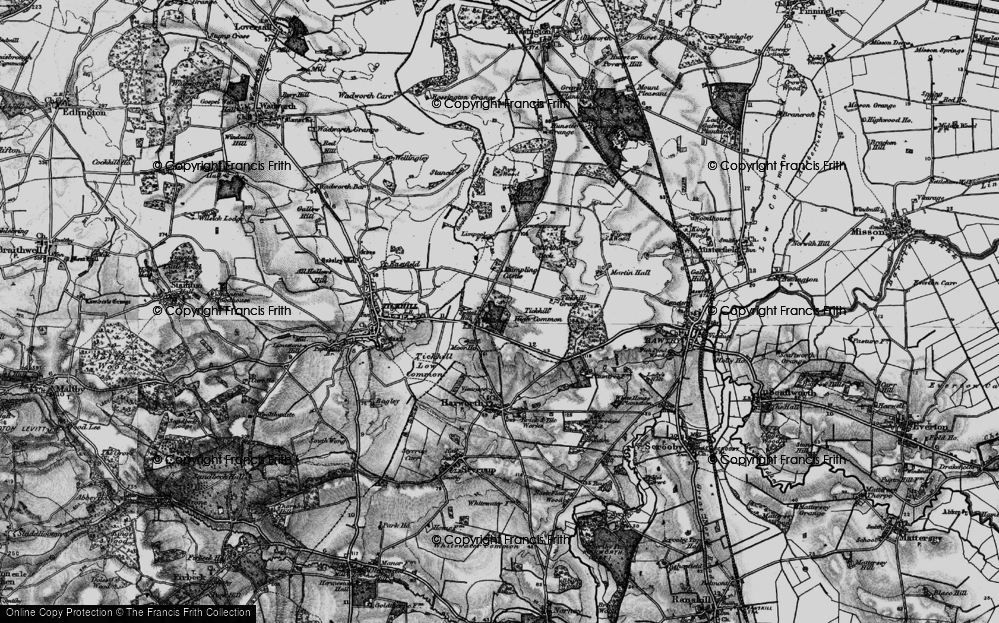 Old Map of Historic Map covering Tickhill High Common in 1895
