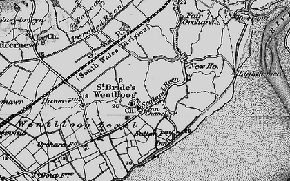 Old map of West Usk Lighthouse in 1898