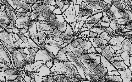 Old map of St Buryan in 1895