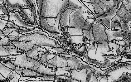 Old map of Abbott's Hendra in 1895