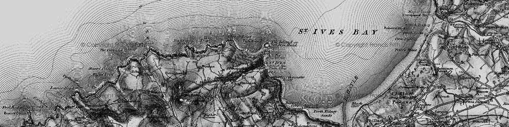 Old map of St Ives in 1896