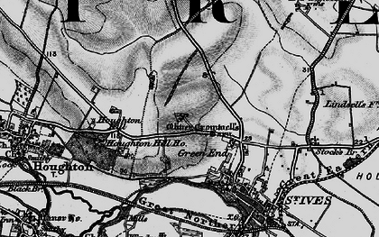 Old map of St Ives in 1898