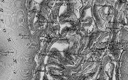 Old map of St Just in Roseland in 1895