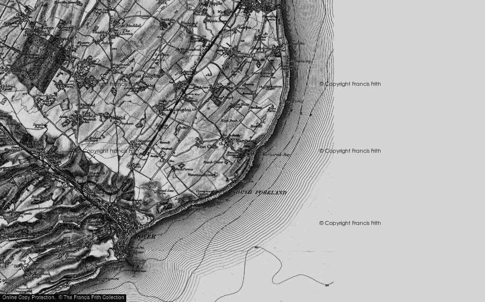 Old Map of St Margaret's at Cliffe, 1895 in 1895